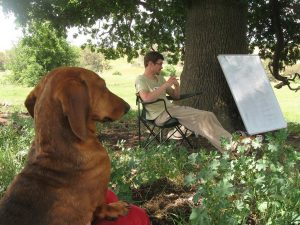 Teaching under the oak tree with the late great Geoffrey the dachshund