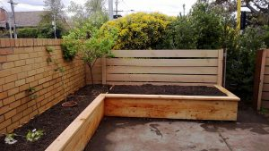 A recently installed wicking bed