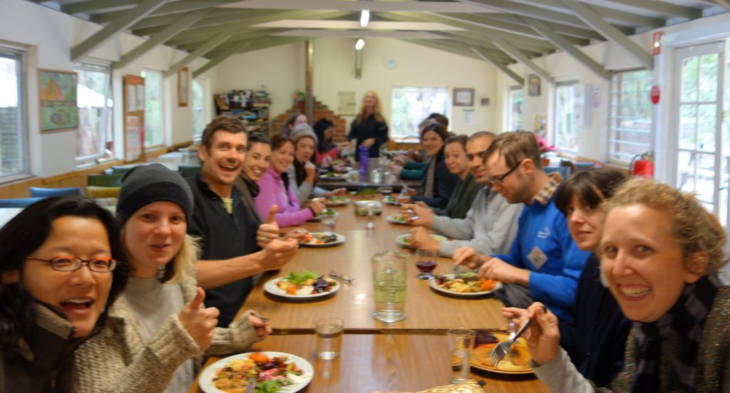 Dinner time on our Permaculture Design Course